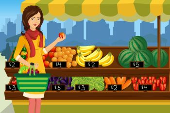 A vector illustration of beautiful woman shopping in an outdoor farmers market