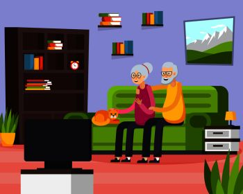 Flat aged elderly people composition with two people watch on tv their favorite show vector illustration. Flat Aged Elderly People Composition