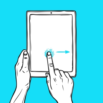 Hand holding tablet device and touching a button sketch on blue background vector illustration.