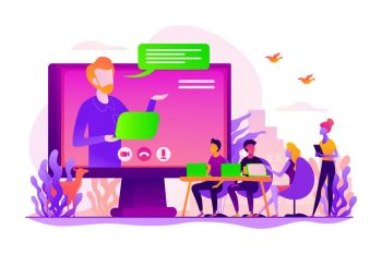 Webinar and employees training. Distance education, video tutorial. Online business conference, meeting and negotiations, partners agreement concept. Vector isolated concept creative illustration. Online conference concept vector illustration