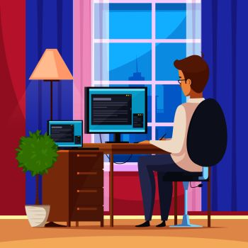 Designer artist at home with computer chair and table flat vector illustration . Designer Artist Illustration