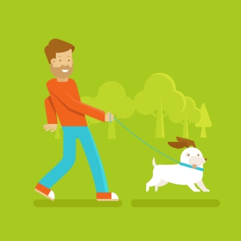 Vector male character in flat style - man walking his funny dog - illustration in simple trendy style