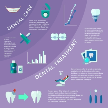 Dental Flat Color Infographic . Dental care and treatment with accessories tools and symbols flat color infographic vector illustration