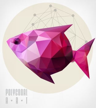 Abstract polygonal beetle. Geometric hipster illustration. low poly illustration. Ladybird polygonal