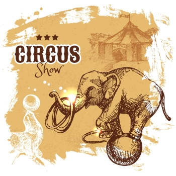 Hand drawn sketch circus and amusement vector illustration. Carnival vintage poster background