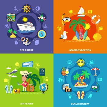 Vacation Travel Design Concept. Vacation travel flat design concept with compositions of seaside resort touristic symbols transport and equipment images vector illustration