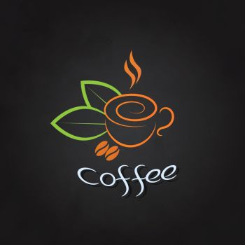 Coffee cup with beans and green leaves on a chalkboard.