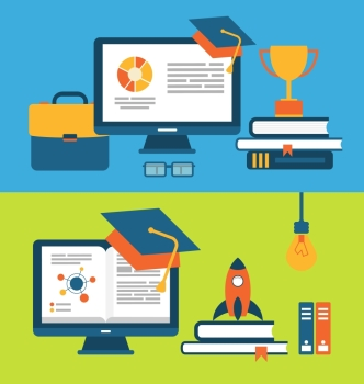 Illustration banners with set of flat concept icons for education for all - vector
