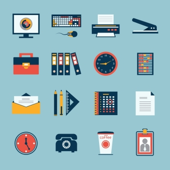 Business office stationery icons set of computer keyboard printer and phone isolated vector illustration