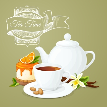 Tea party poster with cup pot orange dessert and badge vector illustration.