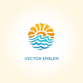 Vector abstract logo design template - sun and sea - travel agency concept - bright summer illustration