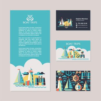 Yacht, sailing, lighthouse, binoculars, compass. Vector illustration. Design flyers and business cards.