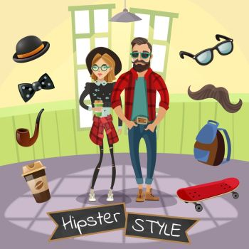 Hipsters Subculture Illustration. Subculture hipsters design in cartoon style with skateboard mustache hat bow tie coffee around people vector illustration
