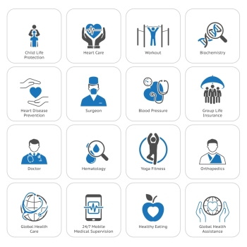 Medical and Health Care Icons Set. Flat Design. Isolated.. Medical and Health Care Icons Set. Flat Design.