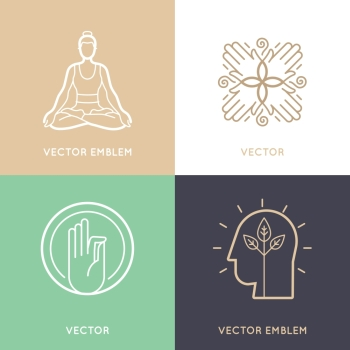 Vector set of abstract logo design templates and symbols - meditation and yoga practice - concepts and emblems for retreat or massage center