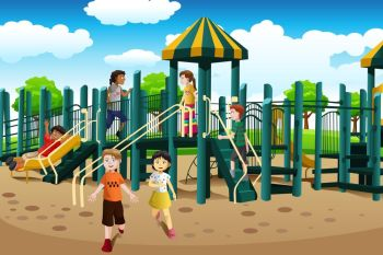 A vector illustration of kids from different ethnics playing together in the playground
