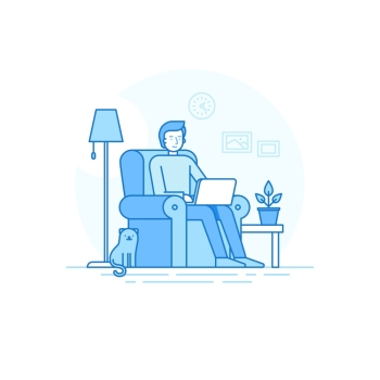 Vector illustration in trendy flat linear style - man character working at the laptop sitting in the armchair with cat - home office and remote creative team member - outsource and freelance work concept