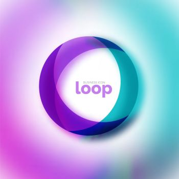 Loop circle business icon, created with glass transparent color shapes. Loop circle business icon, created with glass transparent color shapes. Vector abstract round design