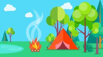 Camping Time in Summer Template Poster with Tent. Camping time in summer template poster with isolated red tent near bonfire and many green trees. Outdoor relaxation on fresh air template