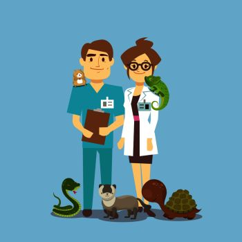 Flat veterinarian and exotic pets isolated on white. Veterinarian medical with snake and lizard. Vector illustration. Flat veterinarian and exotic pets isolated on white