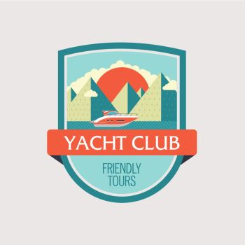 The logo, the emblem of the yacht club. Sea travel. Yacht on the background of a mountainous landscape. Vector illustration.
