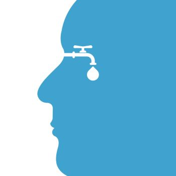 Human head with water drop and water tap icon vector logo design template.World Water Day icon.World Water Day idea campaign concept for greeting card and poster.Vector illustration