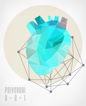 Abstract polygonal heart. Geometric hipster illustration. low poly illustration. Ladybird polygonal