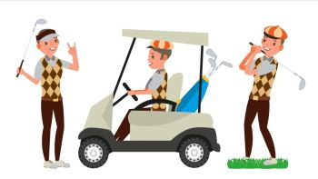 Golf Player Male Vector. Hitting Golf Ball. Playing Man. Different Poses. Cartoon Character Illustration. Professional Golf Player Vector. Playing Golfer Male. Different Poses. Isolated On White Cartoon Character Illustration