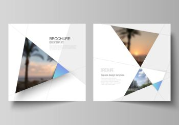 The minimal vector layout of two square format covers design templates for brochure, flyer, magazine. Creative modern background with blue triangles and triangular shapes. Simple design decoration. The minimal vector layout of two square format covers design templates for brochure, flyer, magazine. Creative modern background with blue triangles and triangular shapes. Simple design decoration.