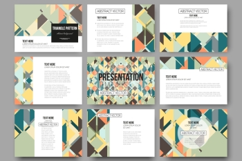 Set of 9 templates for presentation slides. Material Design. Colored vector background. Set of 9 vector templates for presentation slides. Material Design. Colored vector background.