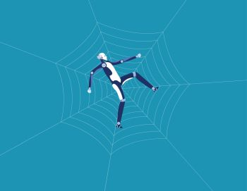 Robot and spider web. Concept business technology vector illustration. Flat design style.