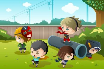 A vector illustration of group of happy kids playing in the park together