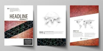 Business templates for brochure, magazine, flyer, booklet or annual report. Cover design template, easy editable vector, abstract flat layout in A4 size. Chemistry pattern, molecular texture, polygonal molecule structure, cell. Medicine, science, microbiology concept.. Business templates for brochure, flyer, report. Cover design template, vector layout in A4 size. Chemistry pattern, molecular texture, polygonal molecule structure, cell. Medicine microbiology concept