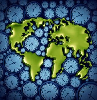 World time zones business travel concept as a planet on different clock icons as a symbol for international traveling with 3D illustration elements.