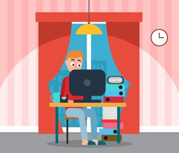 Programmer at home working on computer vector. Home interior with curtains and window view on city, lamp and clock. Business promotion, male student. Freelancer Man, Coder Working on Computer at Home