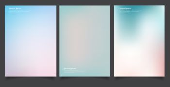 Set of abstract soft blurred gradients background graphic design template for brochure, banner, wallpaper, mobile screen, annual report. Vector illustration