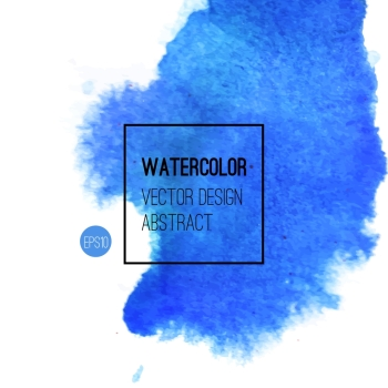 Abstract watercolor background. Blue Hand drawn watercolor backdrop, texture, stain watercolors on wet paper. Vector illustration
