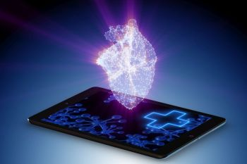Telemedicine concept with remote monitoring of heart condition
