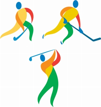 Icon illustration showing athlete playing the sport of field hockey, ice hockey and golf.