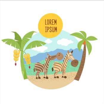 Two striped zebras stand under palm trees. The African animals. Vector illustration. Isolated on a white background.
