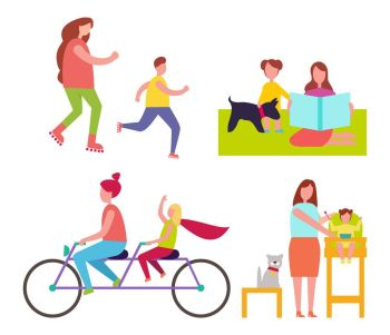 Mothers and Children Collection of Illustrations. Mothers and children collection of isolated vector illustrations on white background. Female parents spending leisure time with young kids and pets
