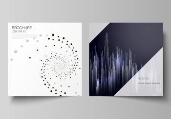 The minimal vector illustration of editable layout of two square format covers design templates for brochure, flyer, magazine. Technology, science, future concept abstract futuristic backgrounds. The minimal vector illustration of editable layout of two square format covers design templates for brochure, flyer, magazine. Technology, science, future concept abstract futuristic backgrounds.
