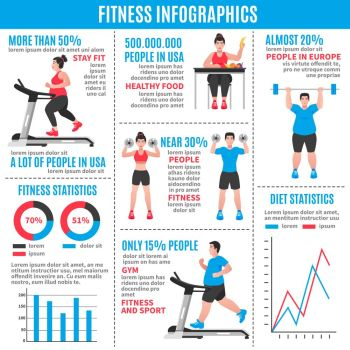 Fitness Colored Infographics. Fitness colored infographics with diet statistics fitness statistics and percentage ratio vector illustration