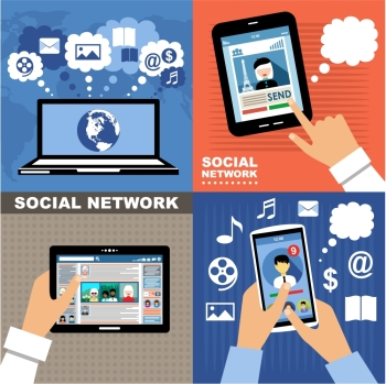The concept of social networks, blogs and online communication. Vector illustration