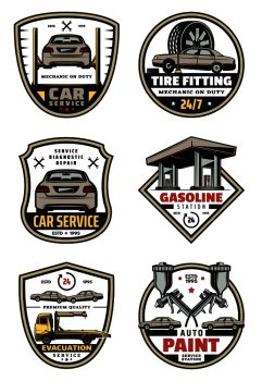 Car auto service icons for mechanic garage or automobile repair. Vector symbols of gasoline station, car engine and valve pistons with tire wheels and loader truck for auto paint. Vector retro icons for car auto service