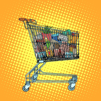 Grocery cart with food pop art retro style. Consumption and shopping in stores. Business concept consumer goods. Grocery cart with food