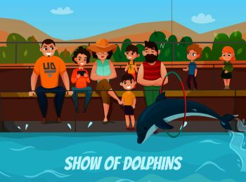 Dolphinarium and family visit with show of dolphins symbols flat vector illustration. Dolphinarium And Family Illustration