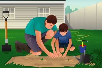A vector illustration of father and son working on a flower garden in their backyard