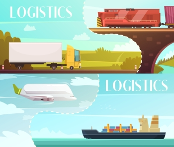 Logistics Banners Set. Logistics cartoon horizontal banners set with delivery symbols isolated vector illustration