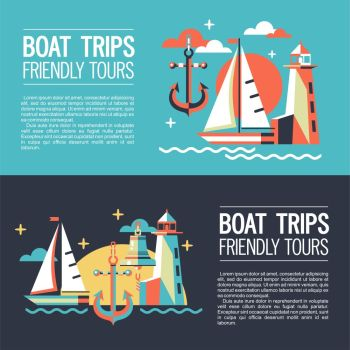 Set of banners. Illustration in a flat style, traveling on a yacht.